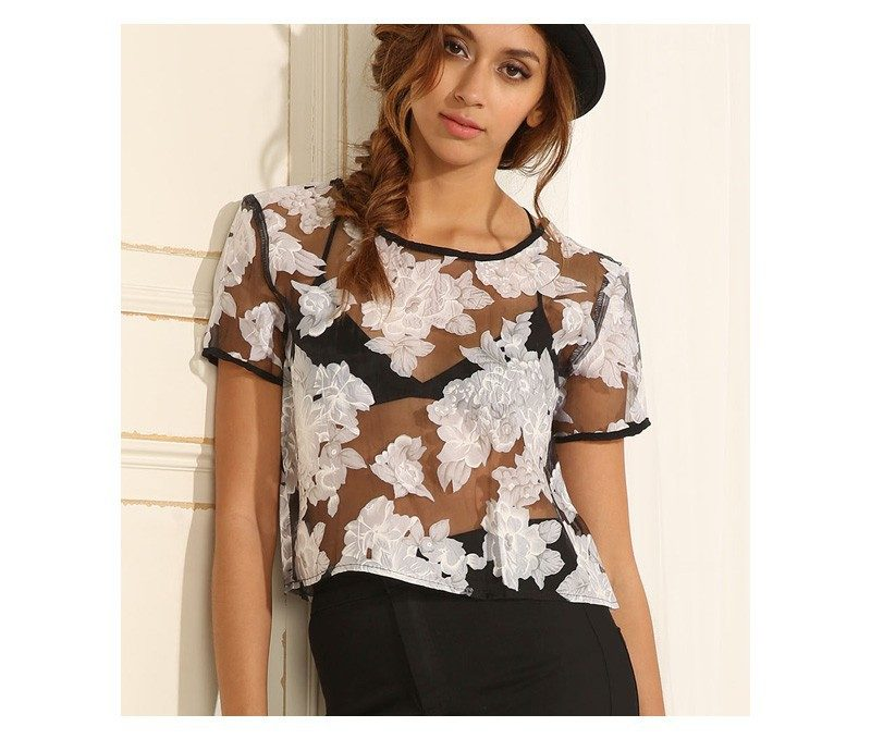 blusa floral traansparente