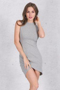 vestido gris sin manga