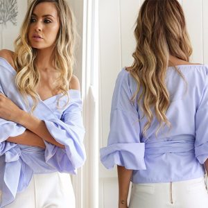 blusa mangas largas off shoulder