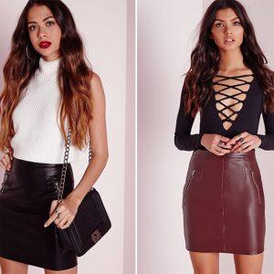 falda imitación cuero