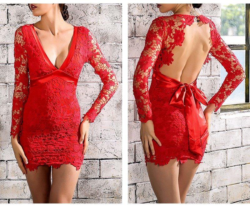 Vestido Rojo Encaje Lazo Espalda