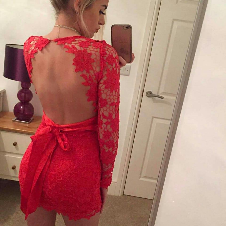 94e95c9eccac vestido rojo encaje lazo espalda
